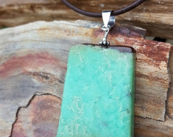 Large Rectangle Chryosoprase Gemstone and Sterling Silver Pendant Drop on Leather, Chrysoprase Drop on Leather, Large Chrysoprase Drop
