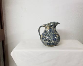 Vintage Spongeware Pitcher Robinson Ransbottom Pottery, Blue pitcher, Vintage pottery, Roseville pottery, blue pottery, vintage kitchen