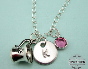 Custom Teacup Charm Necklace, Coffee Cup Necklace, Teacup Necklace, Teacup,Sterling Silver,Charm Necklace,Monogram Necklace,Swarovski,CFD002