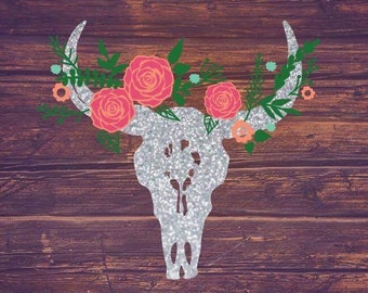 Glitter Floral Cow Skull Decal | Yeti Decal | Car Decal | Glitter Decal | Girly Decal | Rustic Decal | Birthday Gift | Bridesmaid Gift