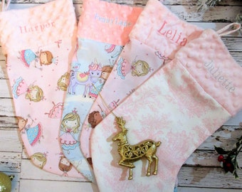 Personalized Christmas Stocking, Baby Christmas Stocking, Minky Christmas Stocking, Custom Princess Christmas stocking, Pink Girl Stocking