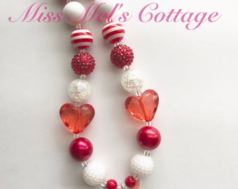 Girl's Pink Olivia the Pig Enamel pendant with Red Dress and  Chunky Bubblegum Beads Necklace