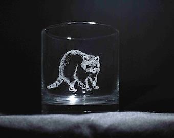 Raccoon engraved tumbler glass; raccoon whiskey glass, raccoon gifts, raccoon kitchen, raccoon drinking glass, raccoon low ball glass