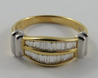 Ladies 18K Yellow and White Gold Baguette Diamond Band SIZE 7