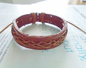 Brown leather boy bracelet, Leather children bracelet