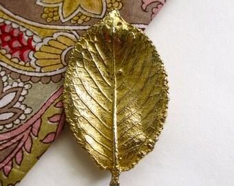 Vintage Gold Tone Leaf Brooch, Detailed Leaf Pin