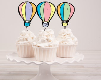 Hot Air Balloons - Oh the Places You'll Go Cupcake Toppers - Instant Download