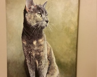 Customized, Personalized Pet Portrait Paintings, Acyrlic on Canvas, Cat