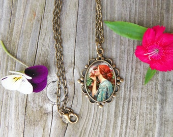 The Soul Of The Rose Necklace, John Waterhouse Glass Dome Pendant Necklace