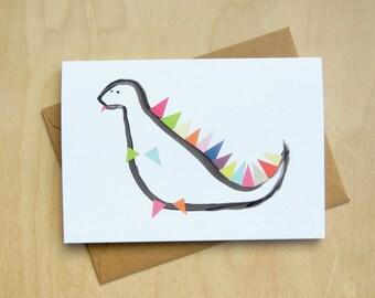 Dinosaur greeting birthday card collage hand drawn original design blank inside