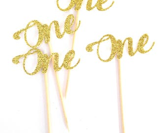 12x ONE Cupcake Toppers Gold Glitter, first birthday, number 1, cake topper, baby