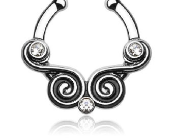 Fake piercing septum stainless surgical steel