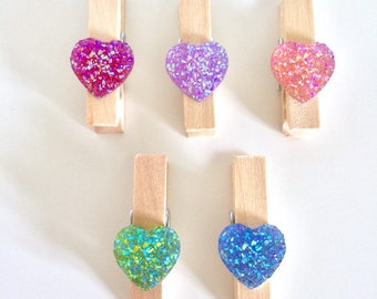 5 Decorative Mini Pegs ~ Heart Mini Pegs ~ Mini Clothes Pegs ~ Decorative Clothes Pegs ~ Mini Clothes Pegs ~ Wooden Mini Pegs ~ Card Making