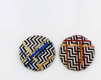 brooch hand embroidered graphic, colorful modern embroidery, textile jewelry, badge pattern chevron, original gift, made in France, nayquach