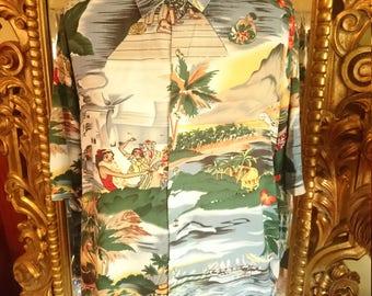 Vintage Men's Caribbean Blues Hawaiian Tiki Shirt Size 2X