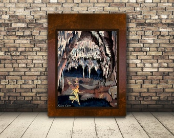 High Resolution Digital Poster from Vintage Art Of Fairy in Cave . Wall Art or Home Decor of Mythical Fairy for Kid's or Children. Cute.