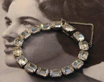 Vintage WEISS Clear Rhinestone Bracelet, Silver Tone, Emerald Cut, Safety Chain, SIGNED, circa 1950s.
