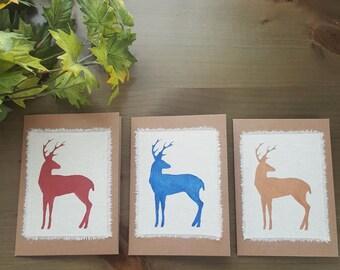 Christmas Cards - Flamboyant Deer - 3 pack -  Hand Painted cards - Christmas Card Pack - Deer Card - Any Occasion Card - Fun Card - Card Set