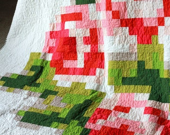 Pixelated Rose Twin Size Quilt