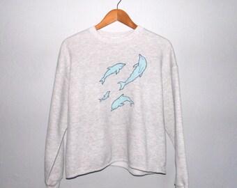 Grey Dolphin Sweatshirt Medium