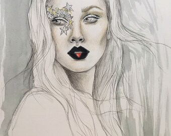 Star Makeup Original Watercolor Fashion Illustration Painting