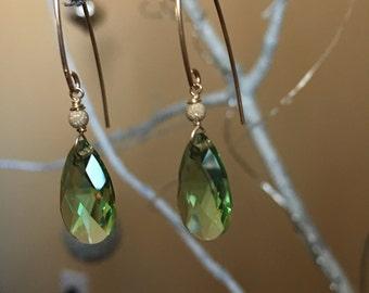 Peridot Swarovski crystal Earrings