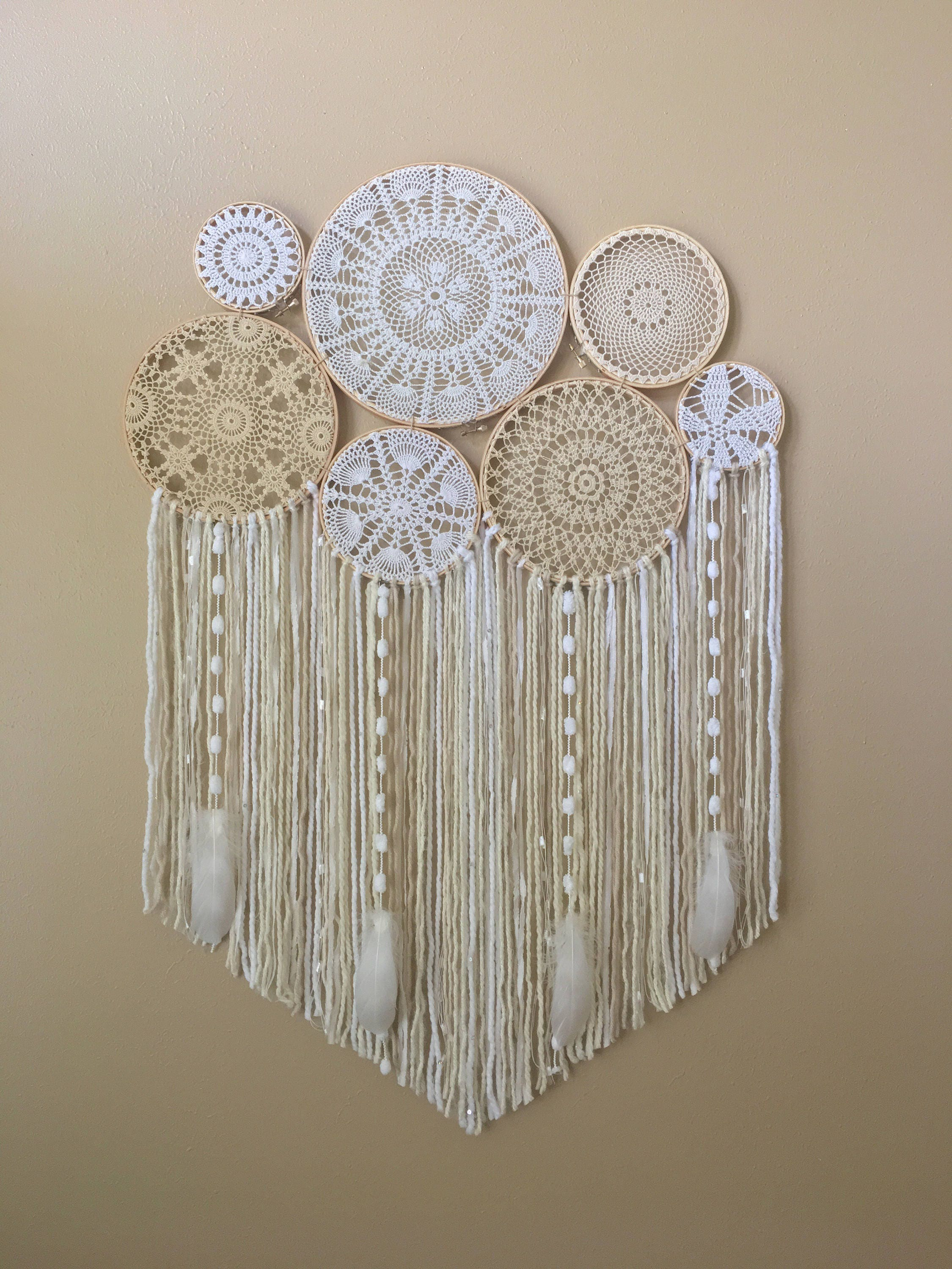 Dream catcher wall hanging doily dream catcher boho for Wall hanging
