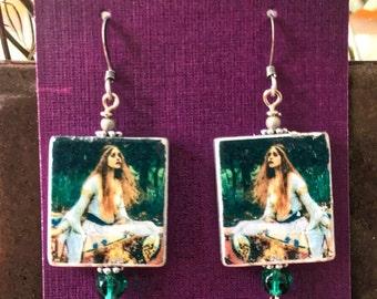 Vintage Wooden Tile Earrings - 'Lady of Shalott' - John Waterhouse (Item #TM14)