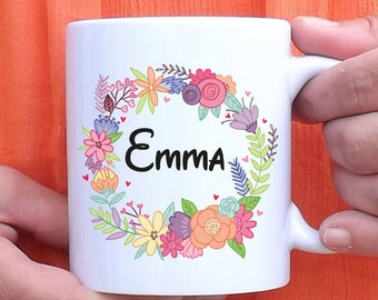 Mug to personalize flowers drawn - cup - personalized gift - name - birthday gift