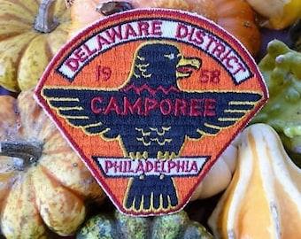 1958 - Philadelphia Delaware District Boy Scout Patch .. Colorful Eagle BSA Souvenir , Memorabilia