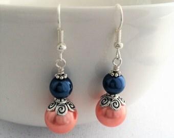 Bridesmaid Navy Orange Jewelry, Orange Navy Jewelry, Orange Navy Earrings, Orange Navy Pearl Earrings, Ornate Navy Earrings