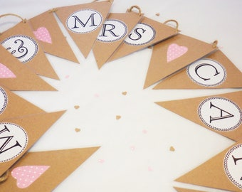 Name wedding bunting , personalised wedding bunting, wedding bunting, Mr and  Mrs bunting, rustic wedding, wedding decor, rustic name banner