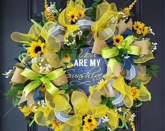 "Denim and burlap sunflower spring/summer wreath ""You are my sunshine"""