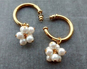Vintage Pearl Hoop Earrings, Pearl Earrings, Earrings, Girlfriend Gift, June Birthstone Jewelry, Vintage Jewelry, Pearl Jewelry