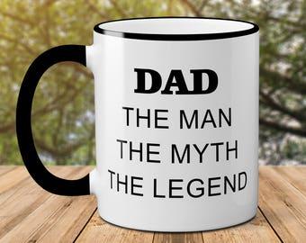 Dad The Man The Myth The Legend Father's Day Mug // Funny Mugs // Ceramic Coffee Cup // Dad Mug