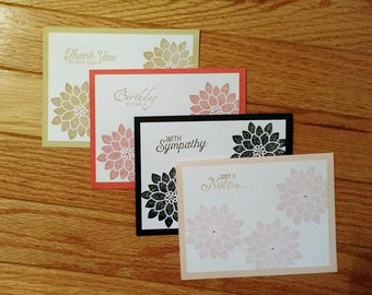 Greeting card set, Set of cards, greeting cards blank, stampin up card set, handmade card set, Homemade cards, Note cards, Just because card