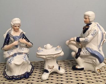 Colonial Blue Tea for Two Figurines
