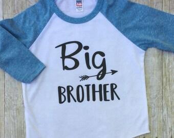 Big Brother Shirt-Sibling Announcement Shirt-Big Brother Raglan Shirt-New Baby Shirt-Pregnancy Reveal-Big Brother Blue Shirt-Made in USA