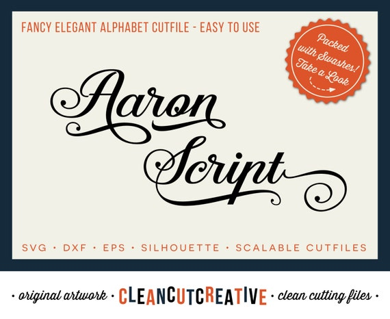 Download Aaron Script Full Alphabet SVG Fonts Cutfile Fancy Elegant