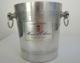 Seau à champagne, seau à glace, objet publicitaire, vintage français