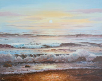 Seascape Waves Ocean Painting Nautical Home Beach Bedroom Canvas Blue Sea Sunset Oil Painting Large landscape Beach Art Abstract Modern Art