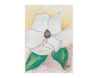 Magnolia I - Watercolor ACEO Original