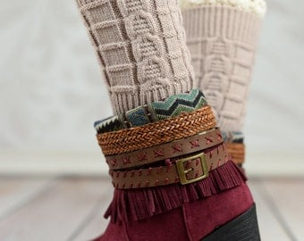 Beige Wheat Boot Cuffs