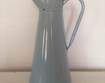 Vintage french enamel jug, blue water pitcher, Large pale blue water jug, French rustic farmhouse decor, blue enamelware