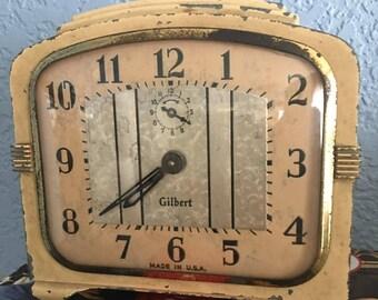 Art Deco Gilbert Metal Mechanical Shelf Clock, c. 1930.  Works Well.