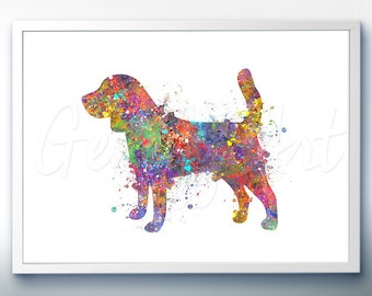 Beagle Watercolor Art Print [1]  - Home Living - Animal Painting - Dog Poster - Wall Decor - Home Decor - House Warming Gift