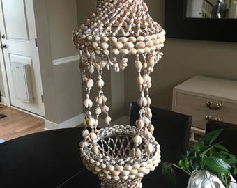 Vintage Sea Shell Hanging Planter Chandelier Boho Coastal 30""