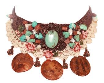 wonderfull Crochet Necklace With Turquoise stone