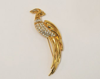 Monet Bird of Paradise Pin - Goldtone with crystals