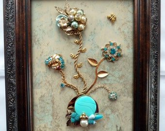 Vintage Framed Jewelry Art, Home Decor, Family Heirloom Art, OOAK Unique, Home Accessories, Art Collectibles, Gifts, Art Made with Jewelry